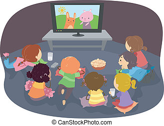 Stickman Kids Watching Cartoons - Illustration of Stickman...