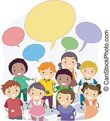 Stickman Kids with Blank Speech Bubbles
