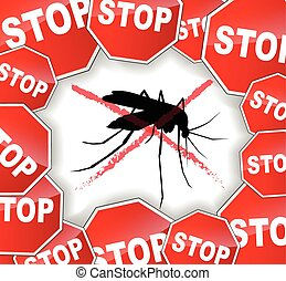 illustration of stop mosquitoes abstract concept background