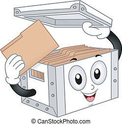 Storage Box Mascot - Illustration of Storage Box Mascot with...
