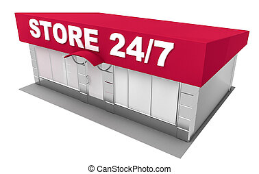 Illustration of store isolated on white