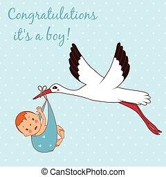 Illustration of stork bringing a boy. Vector
