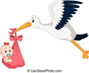 stork with baby cartoon - illustration of stork with baby...