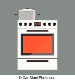 Illustration of stove gas oven with front view. Flat and solid color