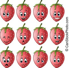 strawberry with different emoticon