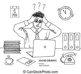 Illustration of stress at work. Businessman holds his head looking at the monitor. Hair stand on end. Confused, baffled, has questions, problems. Hand drawn black and white vector line art sketch