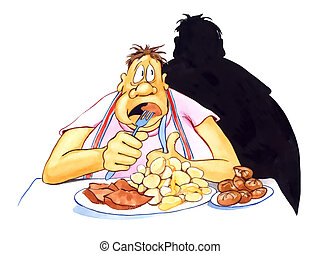 illustration of stressed overweight man eating