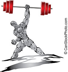 illustration of strong muscle man push the barbell up