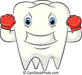 Strong tooth cartoon character with the red gloves