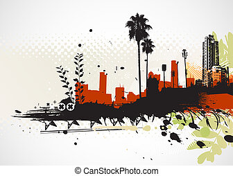 urban background - illustration of styled Tropical grunge...