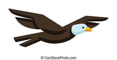 Illustration of stylized eagle. Image of wild bird in simple style.