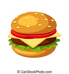 Illustration of stylized hamburger or cheeseburger. Fast...
