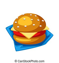 Illustration of stylized hamburger or cheeseburger. Isolated...