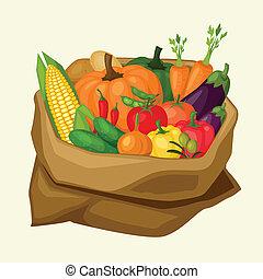 Illustration of stylized sack with fresh ripe vegetables.