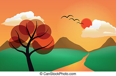 stylized tree in sunset