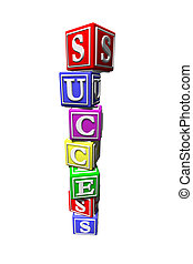 Illustration of success blocks stacked on top of each other...