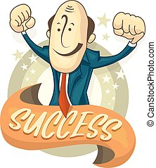 Illustration of success businessman hands up. Cartoon flat illustration