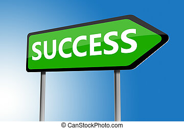 Illustration of success directions sign