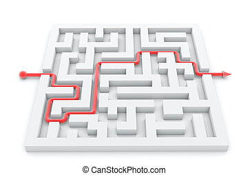 illustration of successful completed maze with track arrow