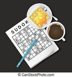 illustration of Sudoku game, mug of coffee and waffle - top...