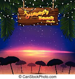 Summer beach party. Tropical palm trees with a wooden sign and many umbrellas at the beach