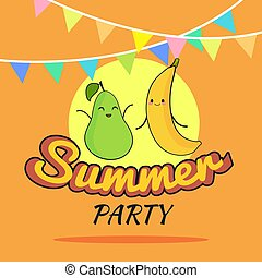illustration of Summer Party poster cartoon design with cute pear and banana characters, Childrens postcard, Healthy Lifestyle