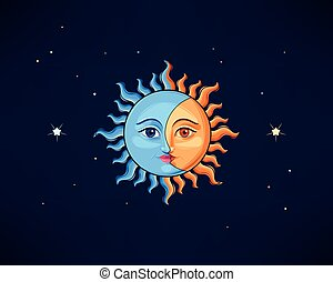Illustration of sun and moon in vintage style