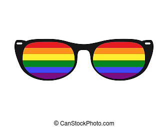 illustration of sunglasses with LGBT gay rainbow lenses isolated on white background. Rainbow, LGBT pride, gay, human rights concept.