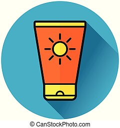 sunscreen lotion circle blue icon