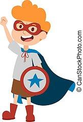 Illustration of super hero boy cartoon character vector.