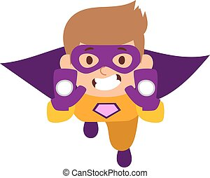 Illustration of super hero boy cartoon character vector.