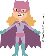 Illustration of super hero girl in mask cartoon character vector.