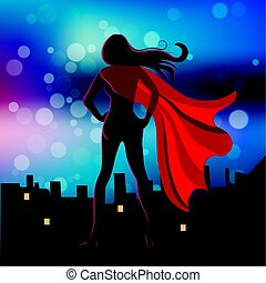 Illustration of Super Hero Girl in the fly - Vector...