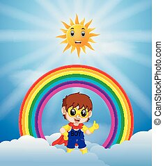 Superhero boy and skies on the rainbow