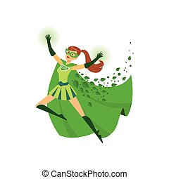 Illustration of superhero girl with hands up in action. Eco ...