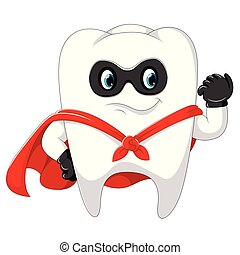 superhero healthy strong tooth uses the mask