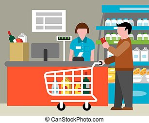 supermarket and shopping - illustration of supermarket and...