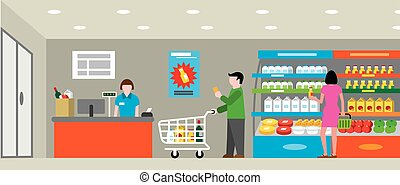 supermarket with shopping