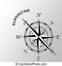 Illustration of superstar written aside compass