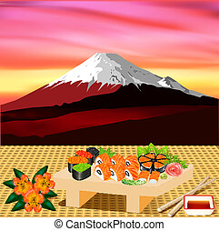 of sushi rolls with greenery on the background of Fujiyama -...