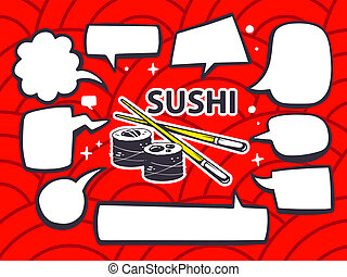 illustration of sushi with speech comics bubbles on red p