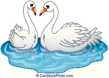 illustration of Swan couples on the lake