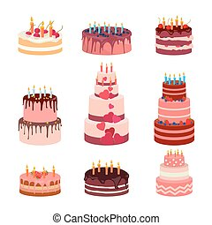 Illustration of sweet baked isolated cakes set. Strawberry icing cake for holiday, cupcake,  brown chocolate   gourmet, colorful birthday celebration cherry  bakery with .    candles and fruits on white background. Vector.