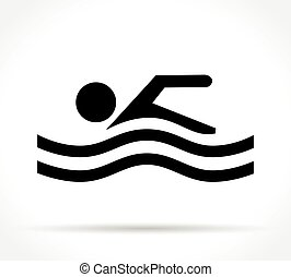 swimming icon on white background