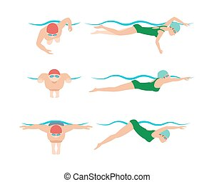 Illustration of swimming style scheme different swimmers man and woman in pool sport exercise.