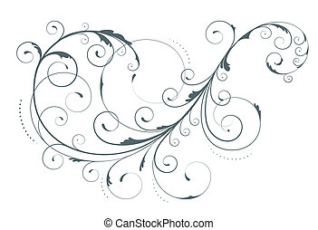 floral element - illustration of swirling flourishes ...