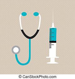 syringe and stethoscope - illustration of syringe and ...