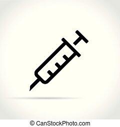syringe icon on white background