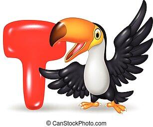 Illustration of T letter for Toucan