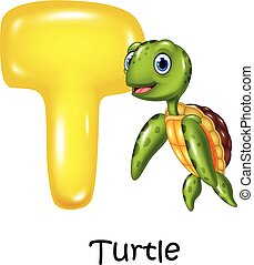 Illustration of T letter for Turtle